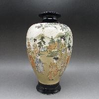 金襴手瑠璃地芸者文花瓶