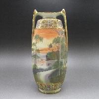 金盛り風景文把手付花瓶