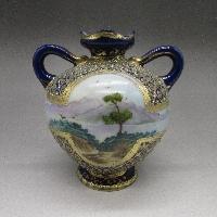 コバルトジュール風景文花瓶