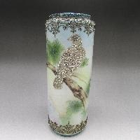 鳥盛り上げ花瓶